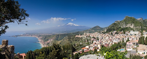 Bild Sizilien - Panorama von Taormina mit Ätna im Hintergrund