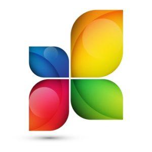 Kleeblatt in blau, gelb, rot, grün als Logo fürs Blog